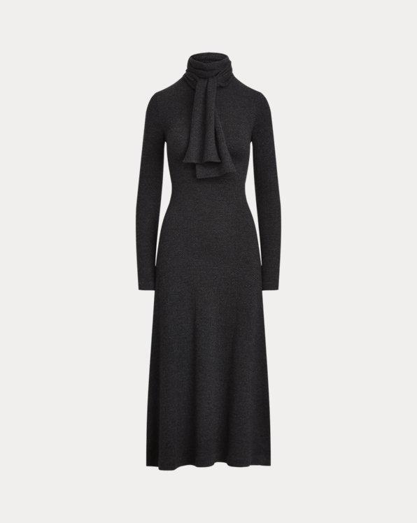Herringbone Cashmere Tie-Neck Knit Dress