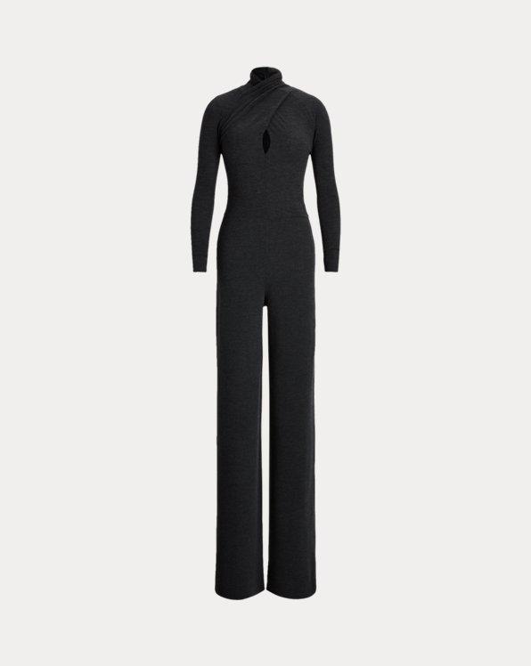 Worsted Wool Long-Sleeve Jumpsuit