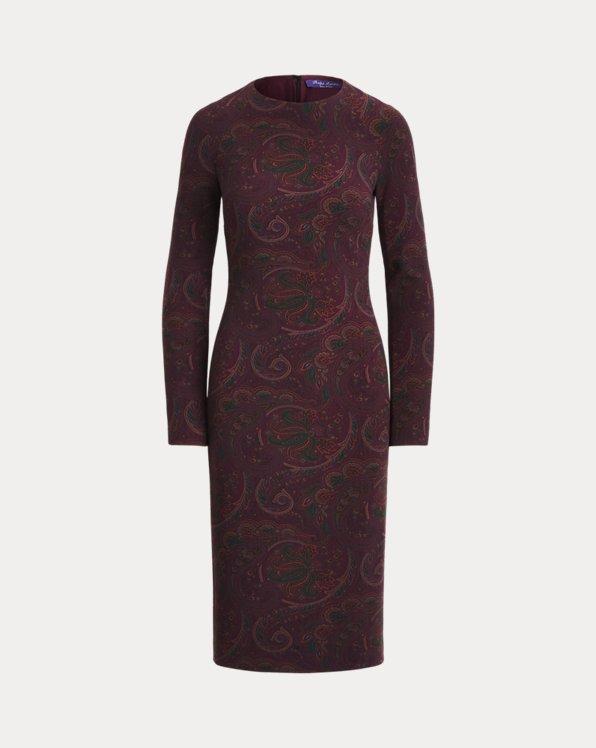 Arding Paisley Stretch Wool Day Dress