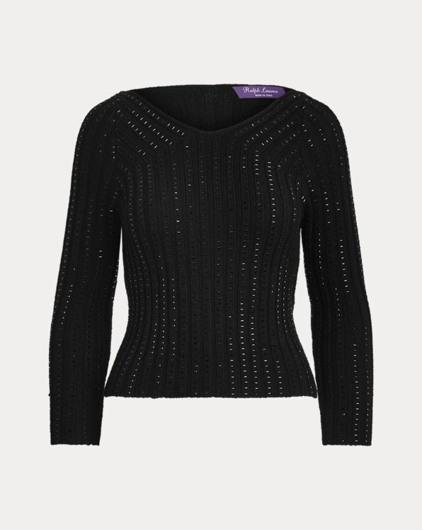 Embellished Wool-Silk Sweater
