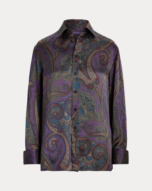 Sonya Paisley-Embroidered Silk Shirt