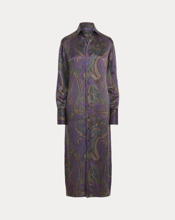 Aryanna Paisley-Print Silk Shirtdress
