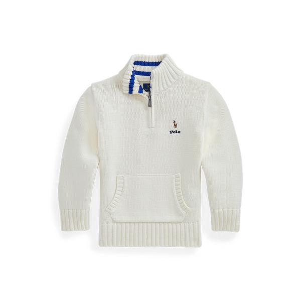 폴로 랄프로렌 남아용 스웨터 Polo Ralph Lauren Cotton Quarter-Zip Sweater,Clubhouse Cream