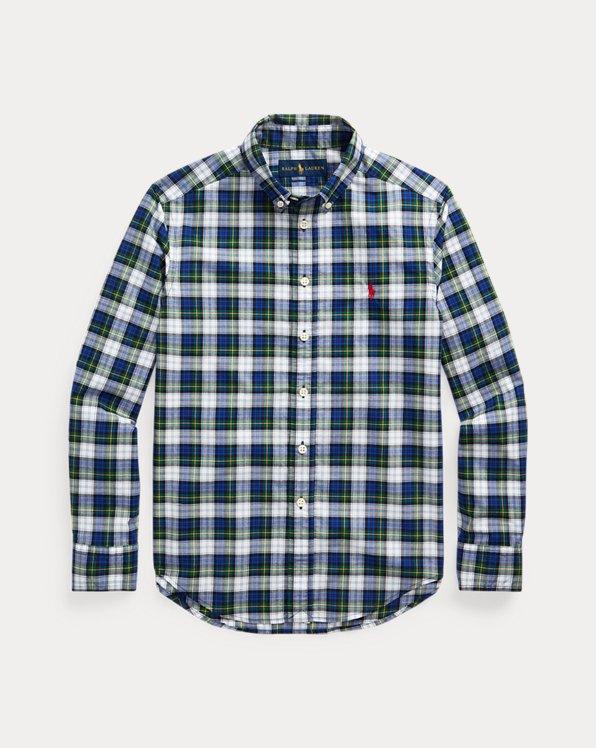 폴로 랄프로렌 보이즈 셔츠 Polo Ralph Lauren Tartan Cotton Poplin Shirt,Blue/Green Multi