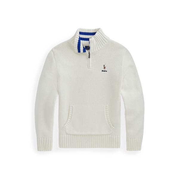 폴로 랄프로렌 보이즈 스웨터 Polo Ralph Lauren Cotton Quarter-Zip Sweater,Clubhouse Cream