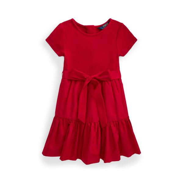 폴로 랄프로렌 여아용 원피스 Polo Ralph Lauren Tiered Stretch Interlock Dress,Park Avenue Red