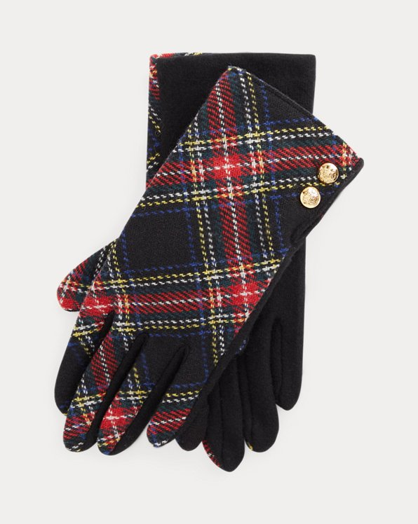 Plaid Two-Button Tech Gloves