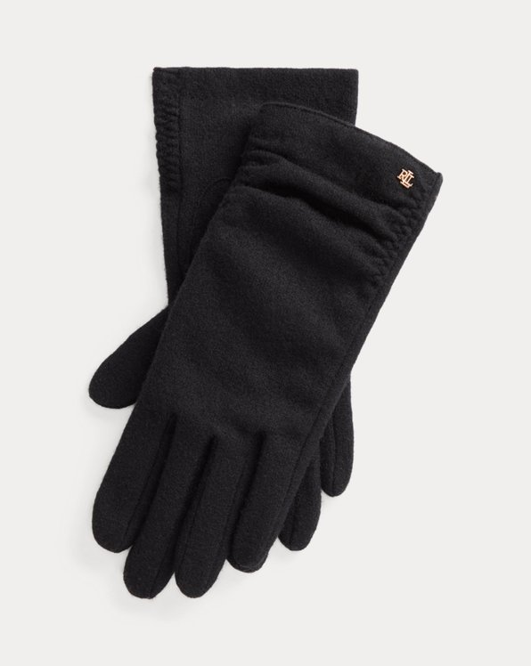 Ruched Wool-Blend Tech Gloves