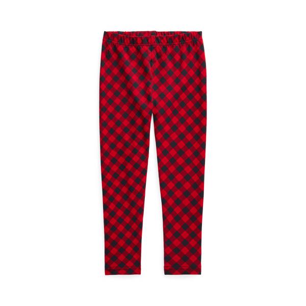 폴로 랄프로렌 여아용 레깅스 Polo Ralph Lauren Buffalo Check Stretch Jersey Legging,Red Black Multi