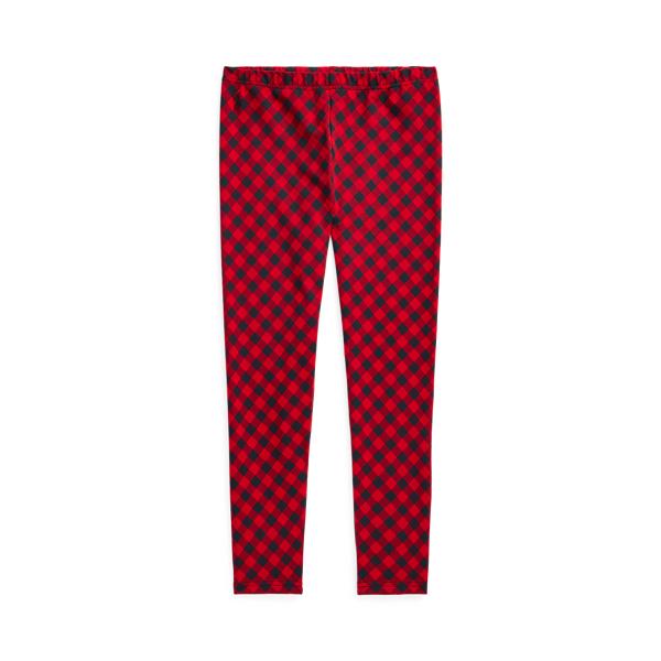 폴로 랄프로렌 걸즈 레깅스 Polo Ralph Lauren Buffalo Check Stretch Jersey Legging,Red Black Multi