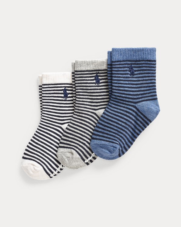 Gestreifte Crew-Socken im 3er-Pack