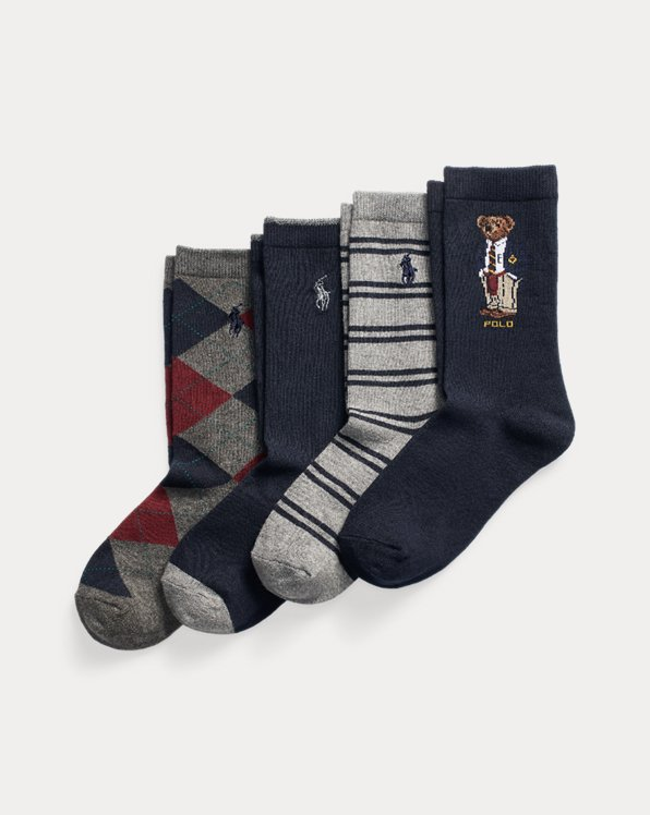Polo Bear Preppy Crew Sock 4-Pack
