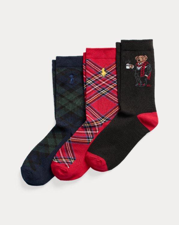 Polo Bear Plaid Crew Sock 3-Pack