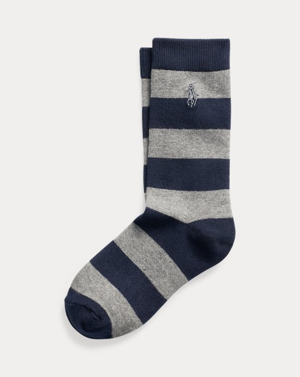 Rugby-Stripe Cotton-Blend Crew Socks