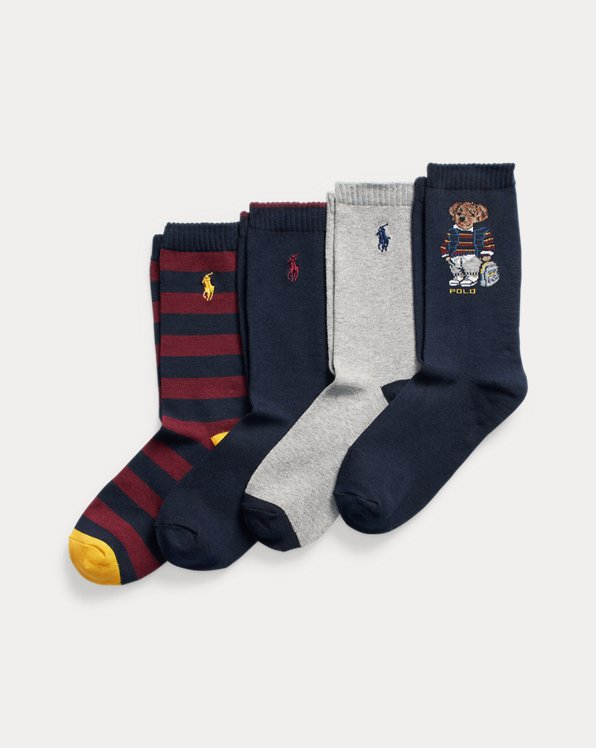 Polo Bear Striped Crew Sock 4-Pack