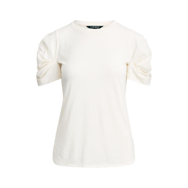 폴로 랄프로렌 Polo Ralph Lauren Bubble-Sleeve Cotton Tee,Mascarpone Cream