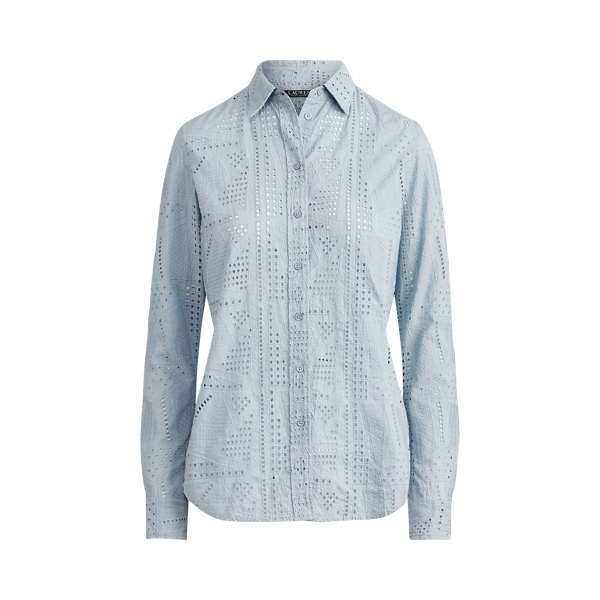 폴로 랄프로렌 Polo Ralph Lauren Patch-Eyelet Cotton Shirt,Estate Blue