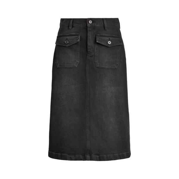 폴로 랄프로렌 Polo Ralph Lauren Patch-Pocket Denim Skirt,Chipped Black Wash