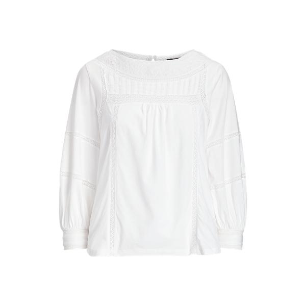 폴로 랄프로렌 Polo Ralph Lauren Lace-Trim Jersey Top,White