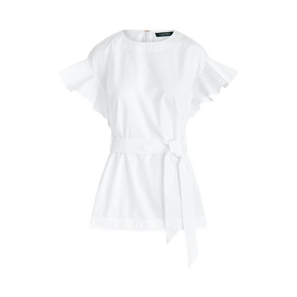 폴로 랄프로렌 Polo Ralph Lauren Flutter Sleeve Cotton Top,White