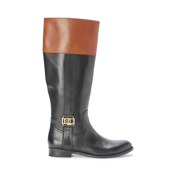 폴로 랄프로렌 Polo Ralph Lauren Berdie Calfskin Boot,Black/Deep Saddle Tan