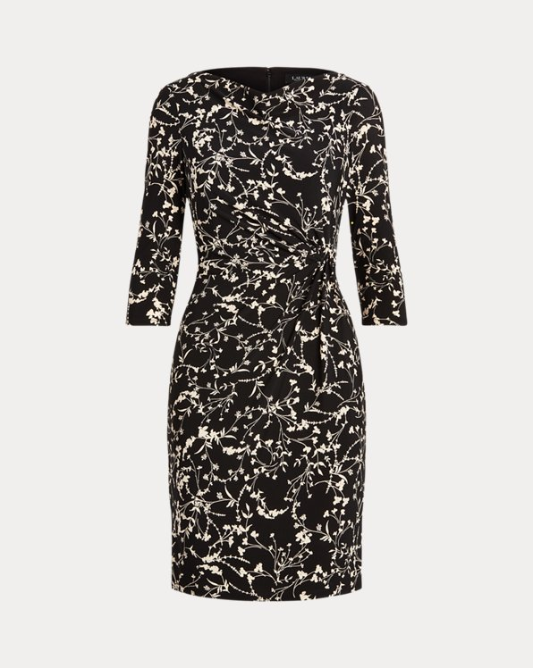 Floral Twisted-Knot Jersey Dress