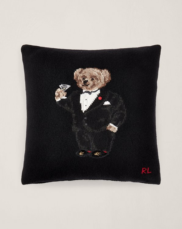 Martini Polo Bear Throw Pillow