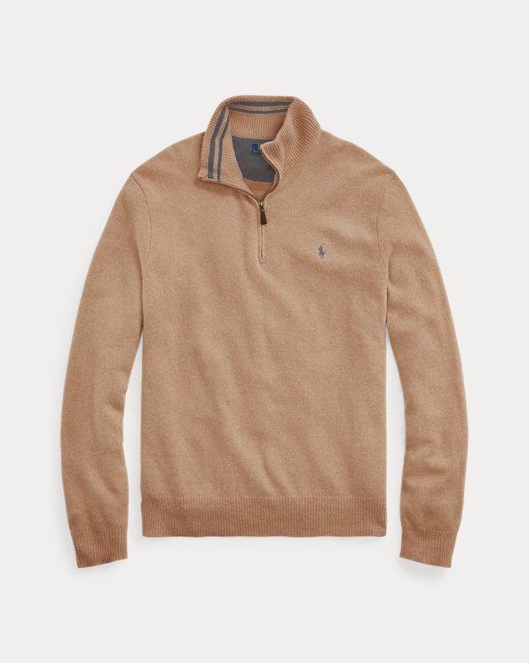 Pull en laine mélangée avec quart de zip