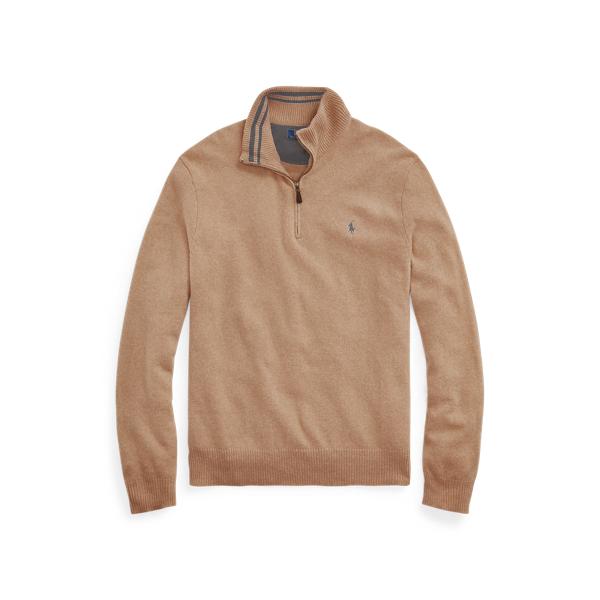 Ralph Lauren Wool-cashmere Quarter-zip Sweater In Camel Melange