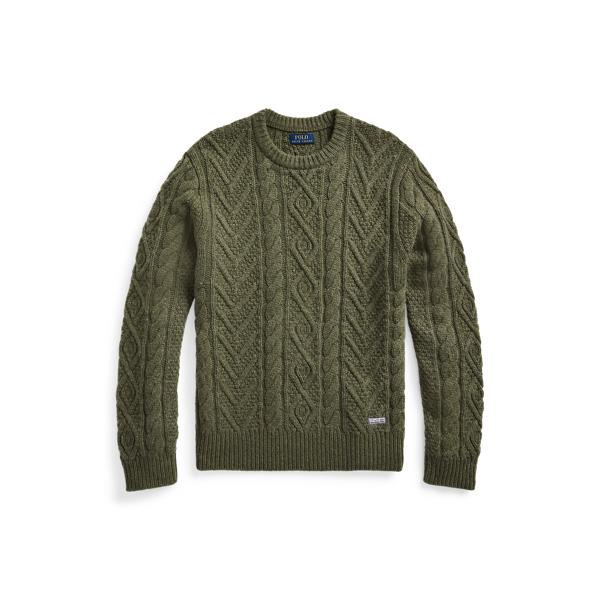 Ralph Lauren Aran-knit Wool-cashmere Sweater In Fossil Green Heather