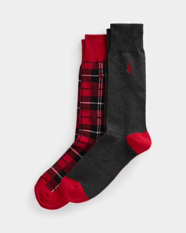 Tartan & Solid Trouser Sock 2-Pack