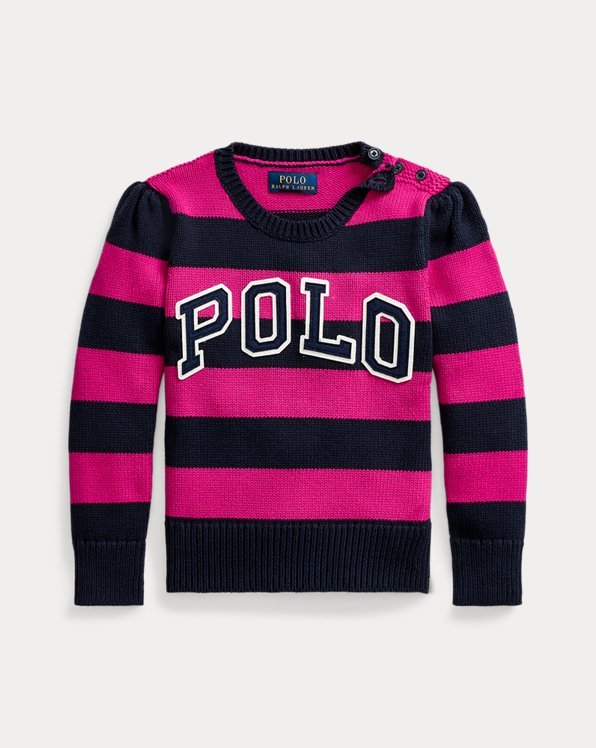 Rugby-Stripe Logo Cotton Jumper