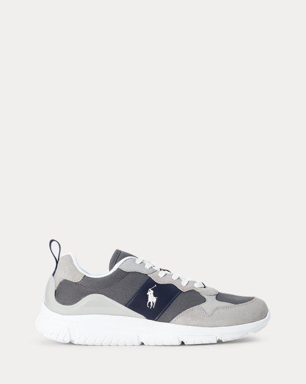Sneaker da jogging rifinite in pelle