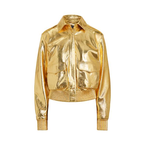 로렌 랄프로렌 자켓 Polo Ralph Lauren Metallic Leather Bomber Jacket,Gold