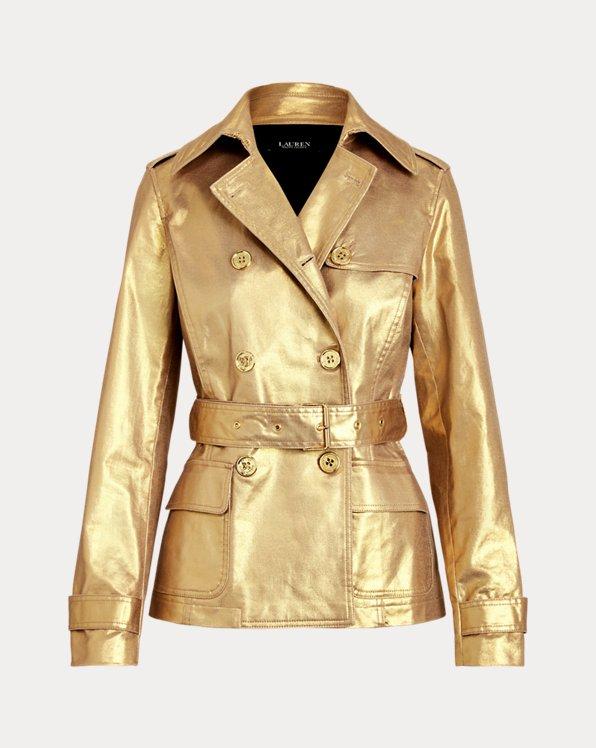 Metallic Twill Trench Coat