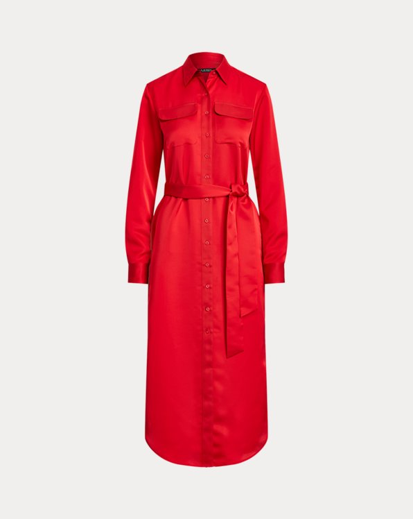 Belted Sateen Shirtdress