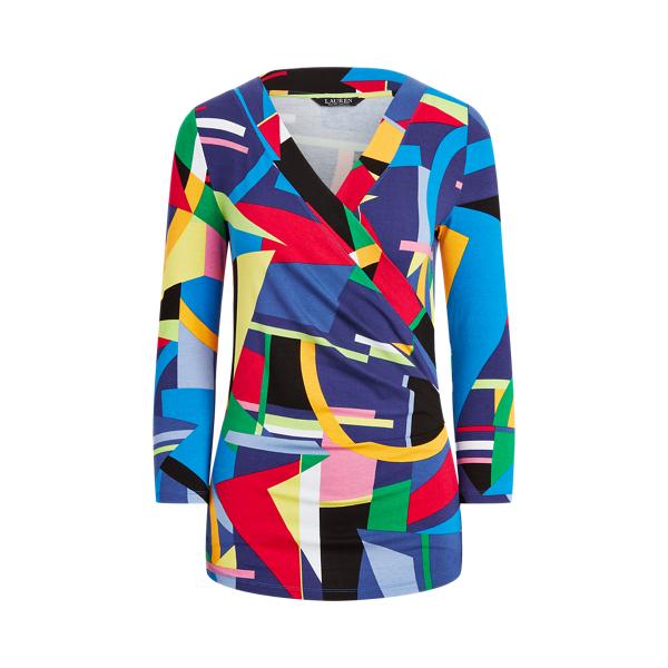 Lauren Print Wrap Style Jersey Top,Blue Multi