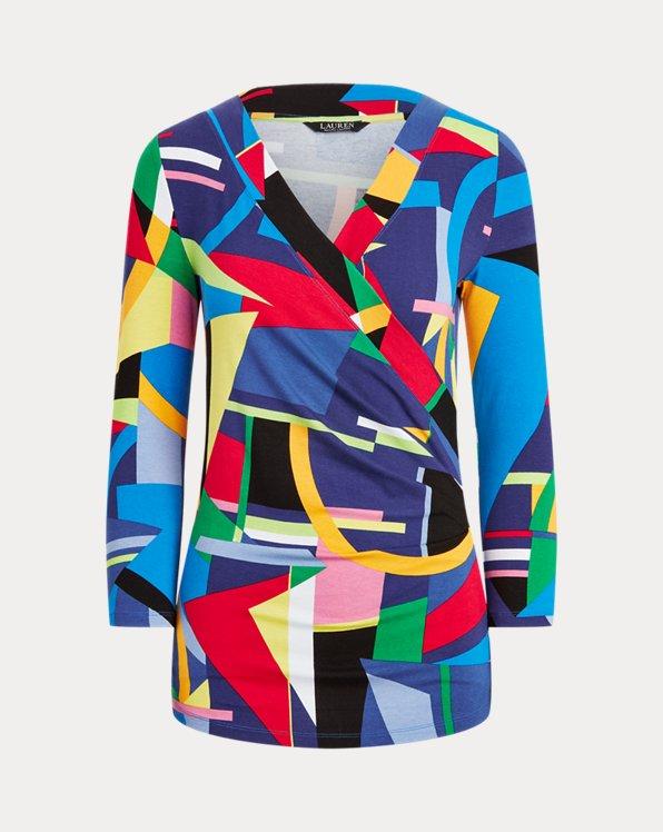 Print Wrap-Style Jersey Top