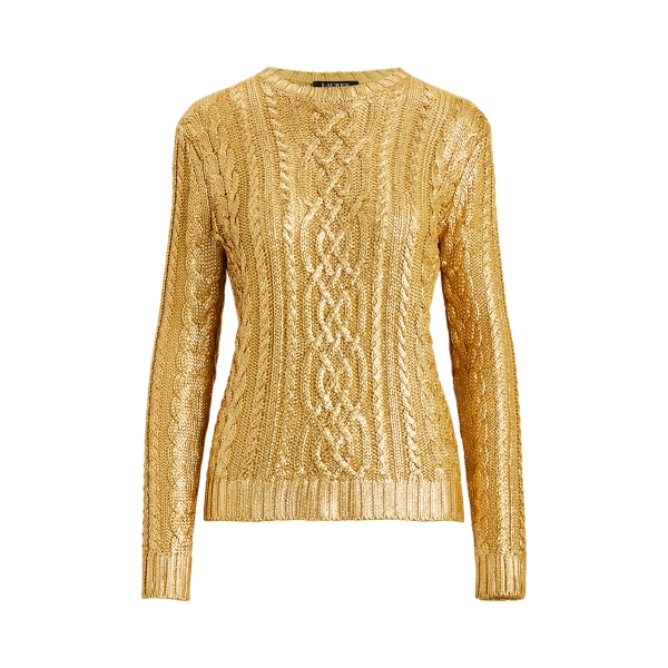 로렌 랄프로렌 꽈배기 스웨터 Polo Ralph Lauren Foiled Cable-Knit Sweater,Shiny Gold