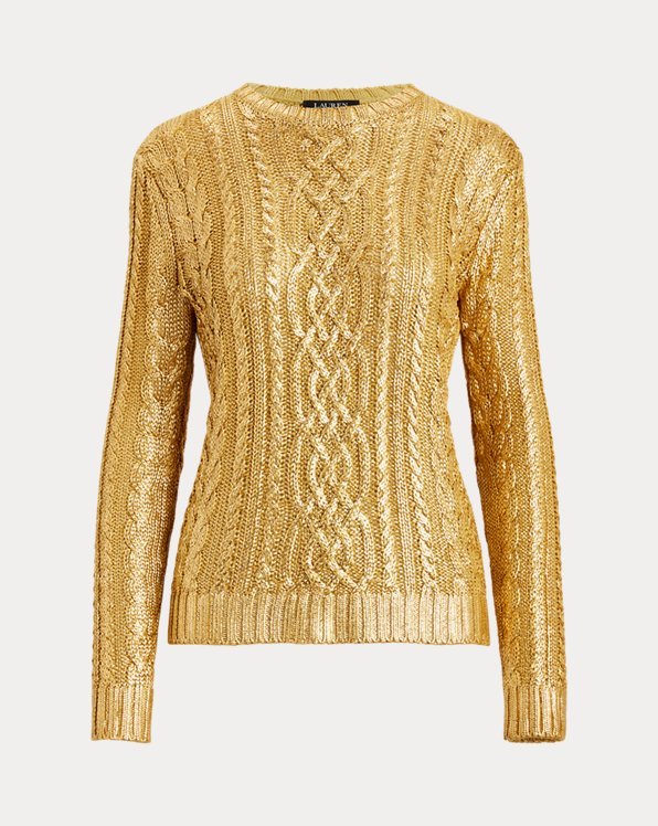 Foiled Cable-Knit Jumper