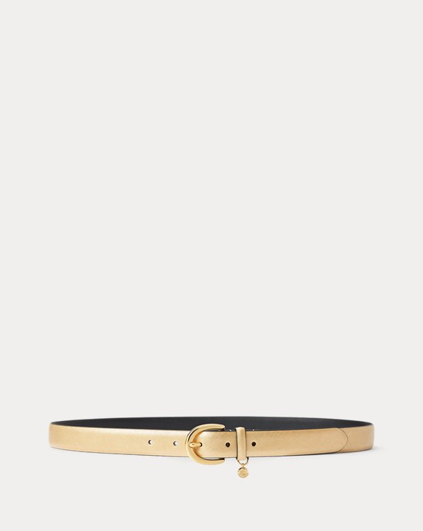 Charm Saffiano Leather Belt