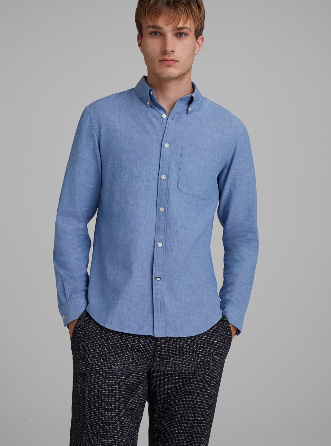 Slim Chambray Flannel Shirt
