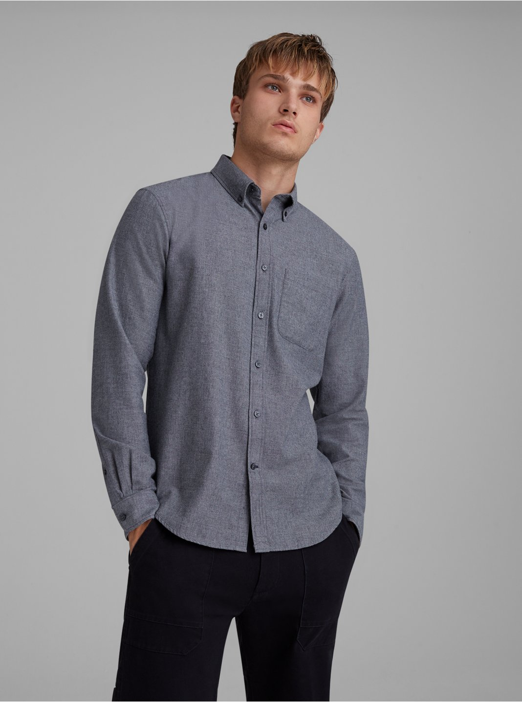 Slim Chambray Flannel Shirt