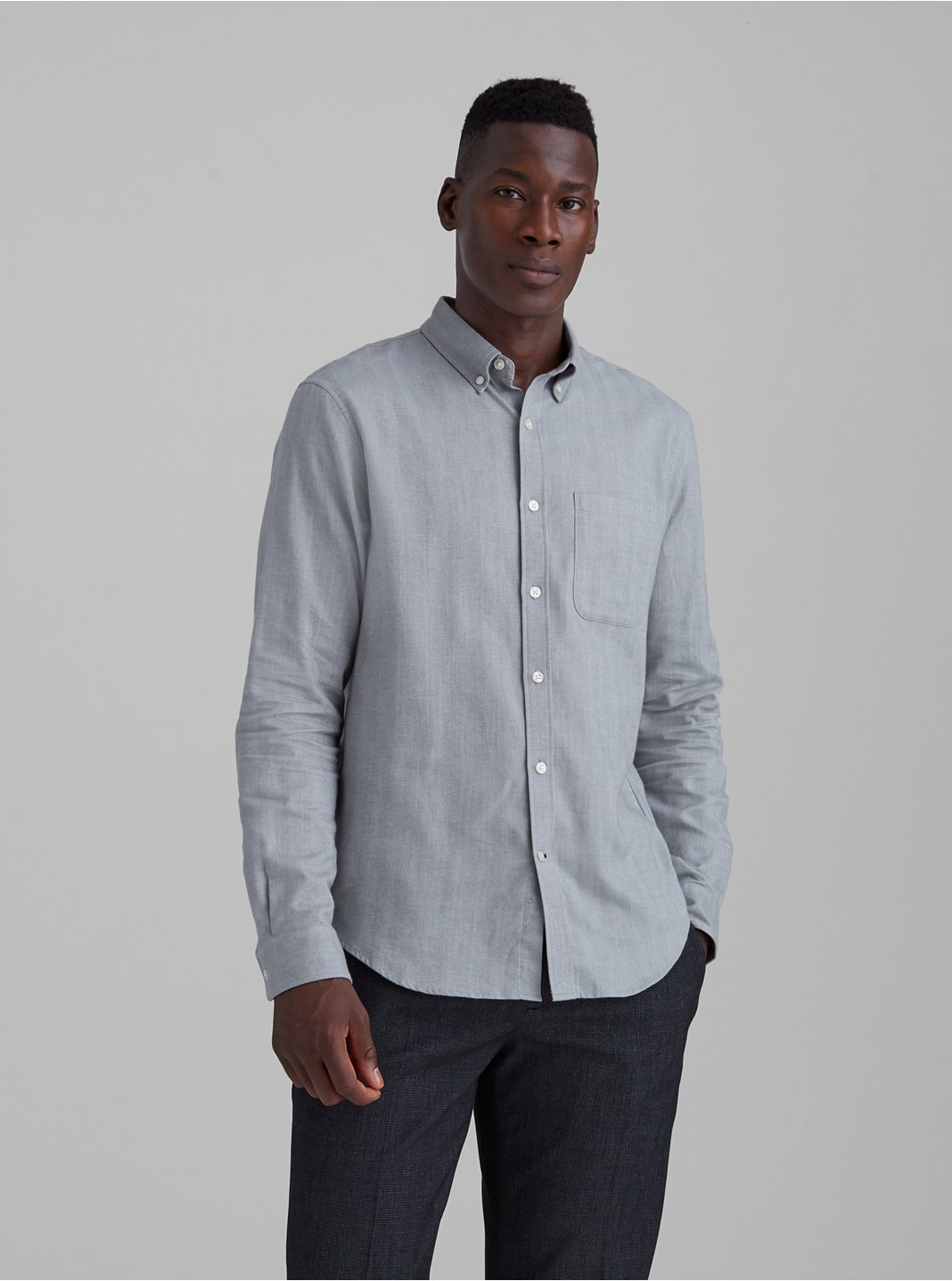 Slim Herringbone Flannel Shirt
