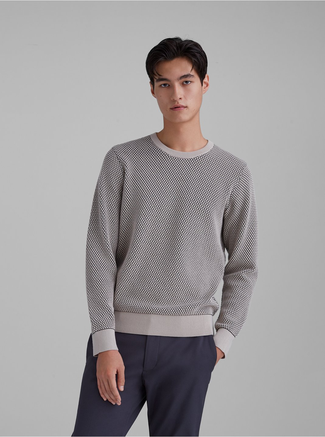 Honeycomb Knit Crewneck Sweater