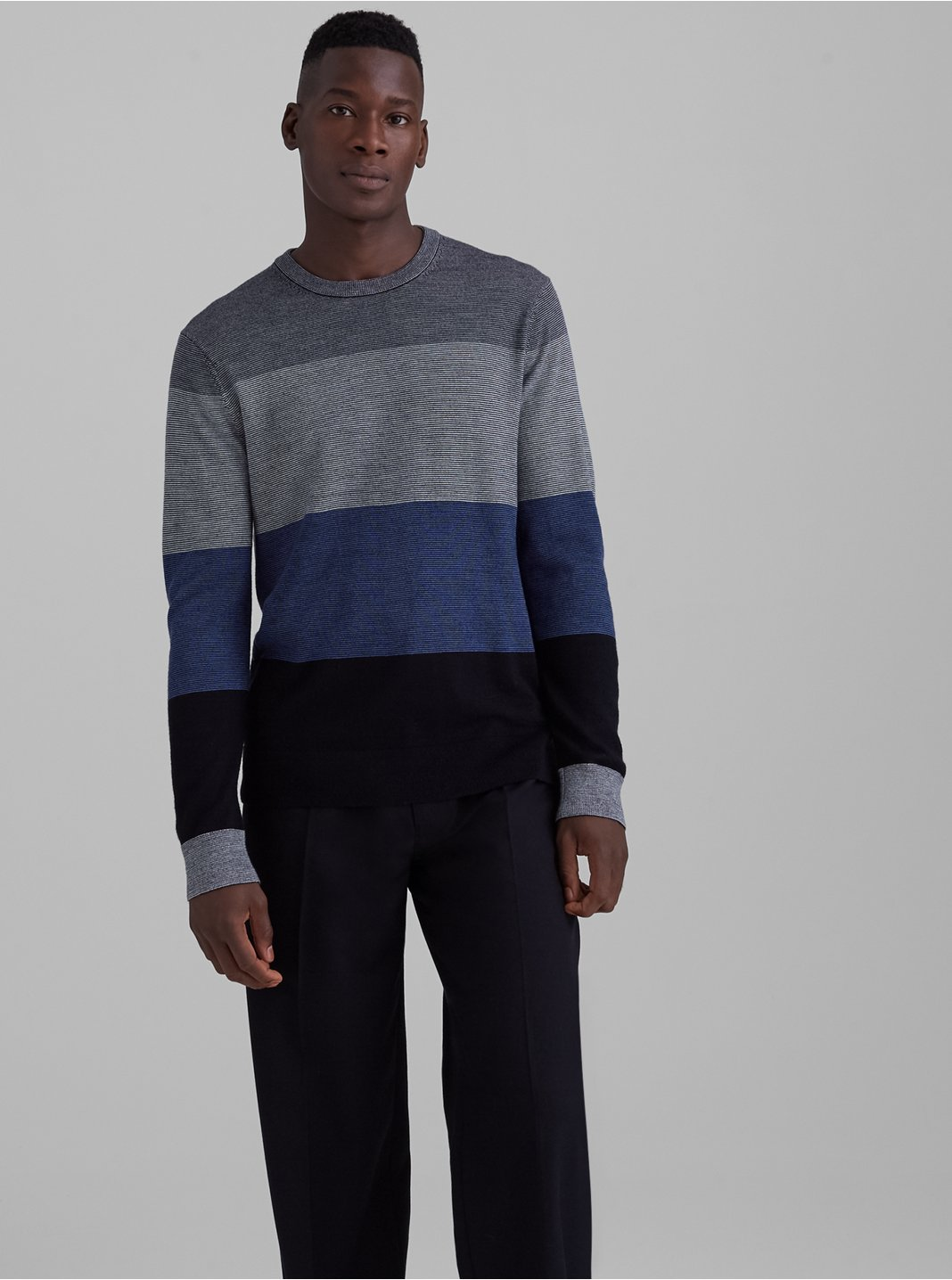 Merino Colorblock Crewneck Sweater