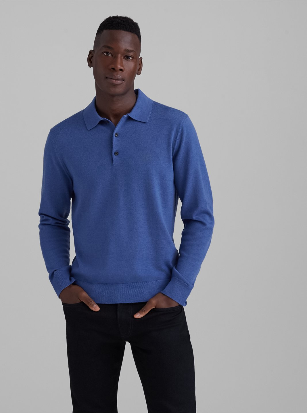 클럽 모나코 스웨터 Club Monaco Merino Polo Sweater,Blue