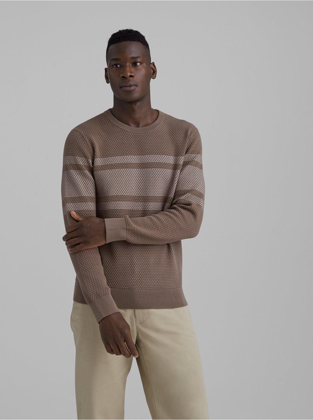 Honeycomb Striped Crewneck Sweater