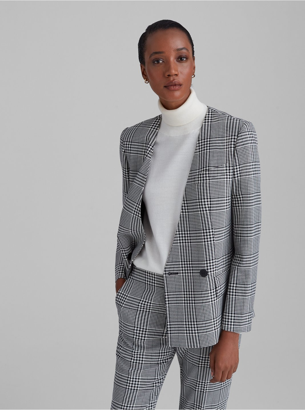 Patterned Collarless Fashion Blazer