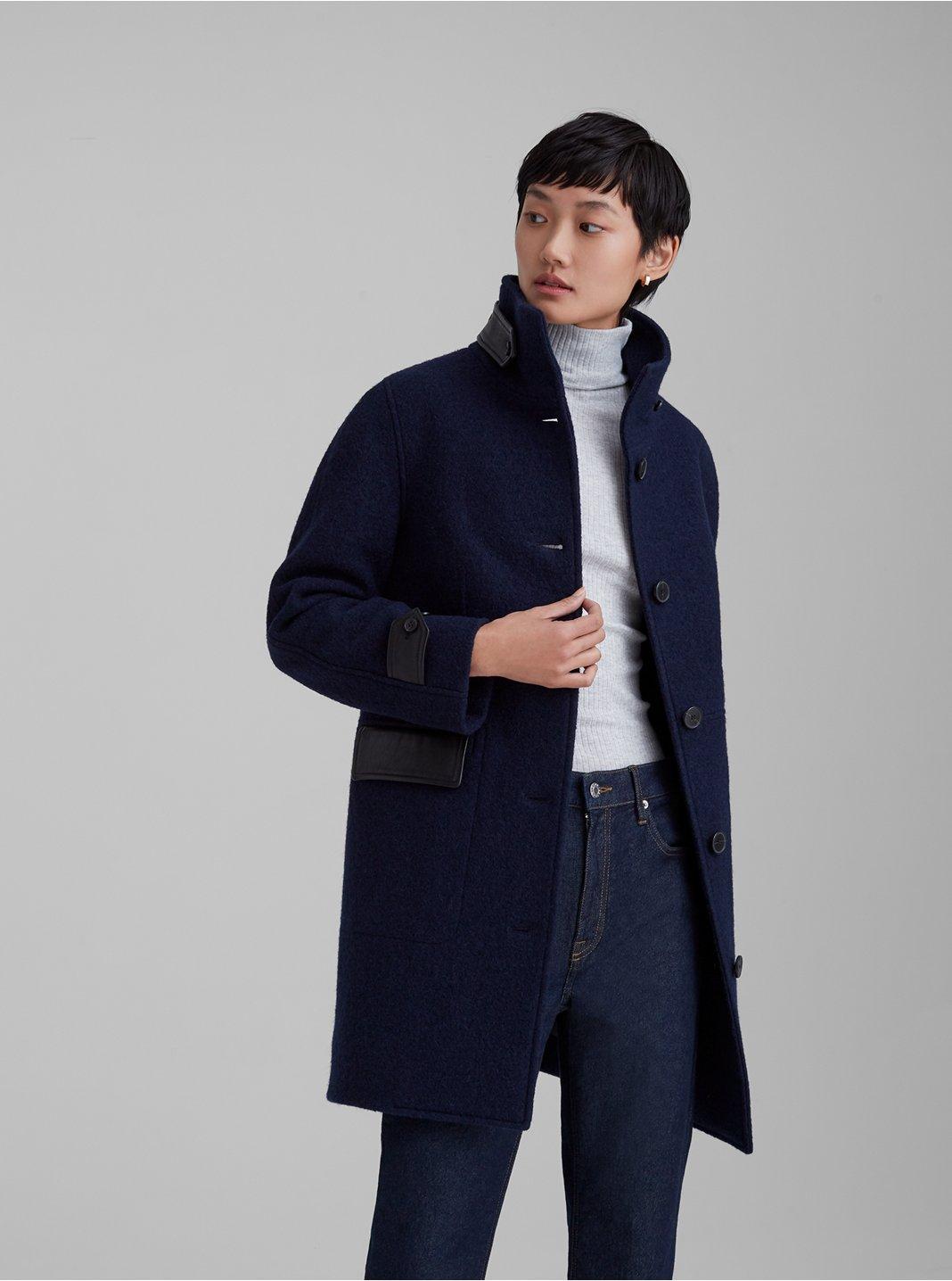 Manteau avec détails en cuir